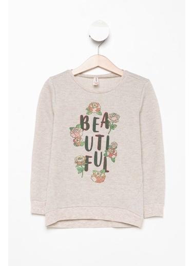 DeFacto Yazı ve Çiçek Baskılı Sweatshirt Bej